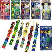 ninja blockiert spielzeug großhandel-Super Heroes DC Avengers Bausteine Originalbox Uhr Ninja Ziegel Kinder Uhr Spielzeug für Weihnachtsgeschenk