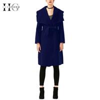 Discount wide adjustable belt - HEE GRAND 2018 Winter Coat Women Outwear Oversize Long Red Trench Coat Wool Coats Wide Lapel Belt Pocket Wool Blend WWF914