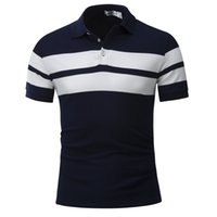Wholesale polo white stripe for sale – custom New Fashion Men s Casual Polo Shirt Stripes Short Sleeve Men Slim Tops Designer Cotton Breathable Polo Shirts Men Polo Hot Selling