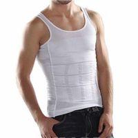 schlankes körperformhemd für männer großhandel-Männer-Korsett-Körper, der Bauch-Former-Weste-Bauch-Taillen-Gurt-Hemd-schwarze / weiße Shapewear-Unterwäsche abnimmt, die Körper-Former abnimmt