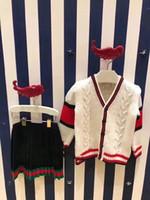 trajes de punto cardigan al por mayor-2 piezas de suéter de niños de año nuevo conjunto infantil pullover cardigan niño niñas de punto cálido chaqueta de punto cardigan + vestido Tops trajes ropa