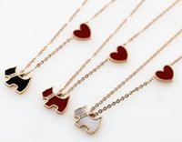 Wholesale gold does fade - Korean titanium steel rose gold color cute heart-shaped black face puppy necklace short paragraph clavicle chain fashion does not fade