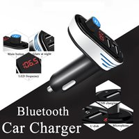 Wholesale Bluetooth Adapter For Cell Phone - Universal Bluetooth Car Charger Adapter Bluetooth FM Transmitters Audio Music Player Dual USB for Cell Phone U Disk Tablet