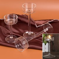 Wholesale Tall Candlesticks Wholesale - Candlestick Classic Glass Candle Holder Wedding Bar Party Home Decor Decoration Goblet Tall Candlesticks New Style