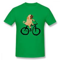 benzersiz bisikletler toptan satış-Özel Serin Komik Funky Pug Köpek T Shirt Sürme Bisiklet T Shirt Adam Çılgın Benzersiz Adam Için O-Boyun T Gömlek