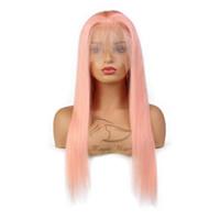 tam dantel yapışkan olmayan insan saç perukaları toptan satış-Saf Pembe Tam Dantel İnsan Saç Peruk Ipeksi Düz Brezilyalı Virgin İnsan Saç Bebek Saç Tutkalsız Ile 150 Yoğunluk Dantel Ön peruk