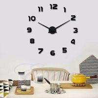 Wholesale luxury home decor wholesale - New Classics Digital DIY 3D Metal Face EVA Number Wall Clocks Luxury Home Decor