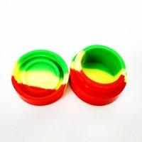 contenedor de aceite de silicona al por mayor-Recipiente antiadherente redondo reutilizable 3ml 5ml Recipiente de silicona para E-cig Cera Bho Aceite Vaporizador de butano Frasco de silicona Dab Contenedor de cera