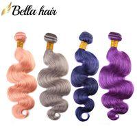mor saç uzatma örgü toptan satış-Bella Hair® 3 adet / grup Renkli Saç Uzantıları Pembe Mavi Yeşil Mor Gri Kırmızı Renk Vücut Dalga İnsan Saç Paketler Demetleri Julienchina