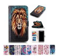 корзина для карточек оптовых-Lion Tiger Flower Кошелек для флип-карты Кожаный чехол для iPhone XS Max XR XS 8 7 6S Plus Samsung S10 5G Plus A50 A40 A60 A70 A20 A20 / A30
