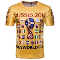 Wholesale flag football shirts - 2018 Russia FIFA World Cup Football Fans Tshirts Men Short Sleeves Commemorative Shirt with Nation Flags Print