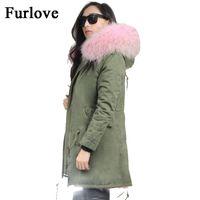 Wholesale womens jackets real fur - Womens Winter Jacket Women Coat Jackets Real Raccoon Fur Collar Coats Thick Parka Army Green Black Parkas mujer invierno 2017