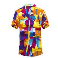 vestido de playa de gran tamaño al por mayor-Hombres de la manera Hawai Camisa Beach Floral Shirt Tropical Seaside Camisa hawaiana de secado rápido Camisas Camisas de vestir para hombres Tamaño grande M-5XL