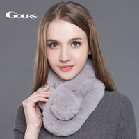 Wholesale Real Fur Scarfs - Gours Women's Real Fur Scarf High Quality Luxury Big Rex Rabbit Fur Scarves Thick Warm Winter Fashion Brand New Arrival GLWJ005