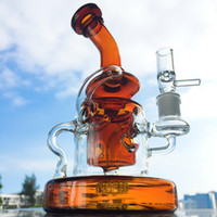 Wholesale unique amber - Unique bongs Small Rigs Klein Recycler Dab Oil rig Showerhead Percolator Water Pipes Tornado Recycler with Bowl Blue Green Amber Bong WP308