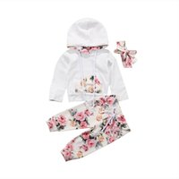 Wholesale toddlers girls clothes online - 2018 Brand New Infant Toddler Newborn Baby Girls Floral Outfit Clothes Tracksuit Hooded Tops Leggings Pants Headband Set