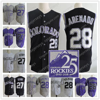 Wholesale purple stories - Colorado #28 Nolan Arenado Black Jerseys #27 Trevor Story Purple Gray White Stitched 2018 25TH season Patch Sleeveless Vest Jersey S-3XL