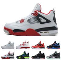yangın kırmızı ayakkabılar toptan satış-2018 4 4 s Basketbol Ayakkabı Erkekler Saf Para Royalty Beyaz Çimento Raptors Siyah Kedi Bred Yangın Kırmızı Erkek Eğitmenler Spor Sneakers Boyutu 8-13