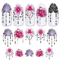 dicas de moda jóias venda por atacado-Nova Moda Feminina Meninas Flor Prego Adesivos Pingente 3D Nail Art Stickers Decalque DIY Jóias Manicure Tatoos