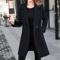 abrigos de lana largos negros para mujer al por mayor-Wool Blends Chaqueta larga con doble botonadura de mujer para mujer Gabardina con muesca de lana negro, azul, rojo, amarillo, talla grande de abrigo