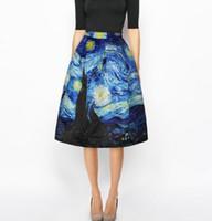 mujeres pintando faldas al por mayor-2018 verano 3D pintura al óleo mujeres falda falda tutú azul puro hembra hip hop paraguas de cintura alta falda para mujer