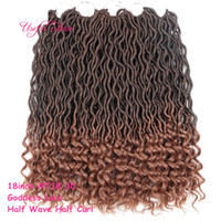 Wholesale hair styles for braids - OMBRE COLOR GODDESS LOCS HAIR marley braiding hair Extensions free ship new style inch crochet braids hald wave hald curly for black women