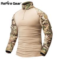 engrenages camouflés achat en gros de-ReFire Gear Camouflage T-Shirt Militaire Armée Combat T Shirt Hommes À Manches Longues US RU Soldats Tactique T Shirt Multicam Camo Tops S917