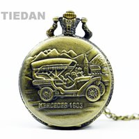 antike autouhr großhandel-TIEDAN MARKE Neue Ankunft MERCEDES Old Car Antike Retro Bronze Taschenuhren mit Kette Halskette für Mann Frau Geschenke Taschenuhr