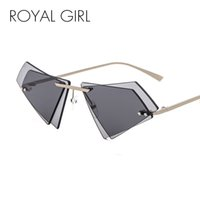 Wholesale sun candy - ROYAL GIRL Unique Rimless Sunglasses Women Men Small Triangle Red Yellow Pink Sun Glasses Candy Colors Double Lens Shades ss005