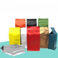 aluminium-reißverschluss-verpackungsbeutel großhandel-DHL Aluminiumfolie Kaffeebohne Packsack Farbiger Reißverschluss-Standbeutel Beutel Kaffee-Verpackungsbeutel mit Ventil Ein-Pfund-Seitenfalten
