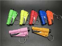 Wholesale emergency rescue whistle - Car Auto Mini Safety Glass Window Breaking Hammer Emergency Escape Rescue Tool Key Ring Survival whistle Keychain Seat Belt Cutter