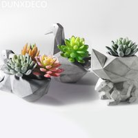 Wholesale Resin Squirrels - Dunxdeco 1pc Modern Grey Geometric Space Art Pelican Squirrel Resin Multifunction Succulent Flower Pots Garden Decor Display