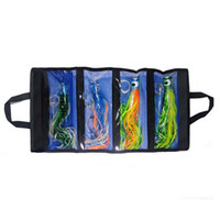 stainless steel trolling hooks UK - Mix colors 4pcs 11.5 inch resin Head Skirt marlin tuna Trolling lure Stainless steel hook portable Washable lure bag sets