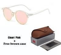 lentes de sol con lentes de flash al por mayor-Nueva moda gafas de sol redondas para hombre para mujer Diseñador de la marca Gafas de sol mujeres hombres Marco de cuadro Flash Mirror UV400 Lente de protección con estuches
