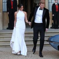 prensler beyaz elbise toptan satış-2018 Son Prens HarryMeghan Markle Halter Abiye Basit Tasarım Mermaid Beyaz Örgün Abiye giyim Özel Durum Elbise