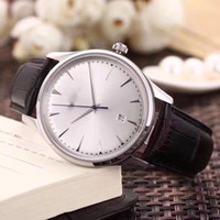 Wholesale crown leather watch - Business AAA Quality TOP LUXURY WATCH Jaeg Automatic mechanical movement Leather Strap Fluted bezel Concealed folding Crown clasp Mens watch