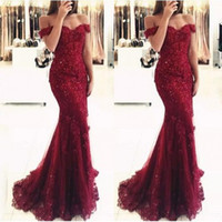Wholesale Blue Prom Suits - New Elegant Off the Shoulder Beaded Mermaid Mother Dresses Short Sleeves Lace Appliques Floor Length Formal Evening Prom Custom Made BA3809