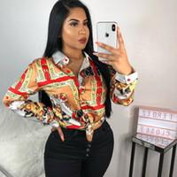 top rich achat en gros de-2019 Nouvel Automne Femmes Blouses Chemises À Manches Longues Col Boutonné Riches Imprimé Chemise Chemisier Femmes Hauts