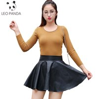 Wholesale flared leather skirt - Wholesale- Hot Sale XS-L Fashion Women Faux Leather Skirt High Waist Mini Skirt Above Knee Solid Color Flared Pleated PU Short Skirt SUN127