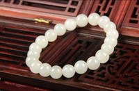 тонкий фарфор оптовых-Koraba Fine Jewelry China Fashion Natural White Jade Manual Grinding  Bracelet Elastic Bracelet Free Shipping
