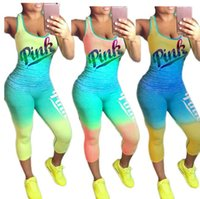 Wholesale nylon pant suit - Pink letter Printed 2PCS Tracksuit Gradient Vest+ point pant ights Leggings Two Piece Summer Sportswear 3 Color Jogging suit EEA279