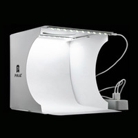 mini cajas de luz al por mayor-20 * 20 cm 8 Mini Estudio Plegable Difusa Caja Suave Caja de Luz Con Luz LED Negro Blanco Fotografia de Fondo Caja de Estudio de Fotos