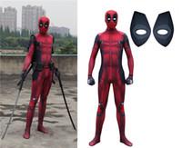 Wholesale deadpool costume for sale - deadpool costume adult Man marvel cosplay deadpool costumes men kids Wade Wilson Spandex Lycra Nylon Zentai bodysuit Halloween