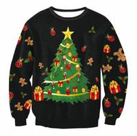 camisolas do natal venda por atacado-Camisola de natal Patton Papai Noel Bonito Impressão Pullover Camisola Jumper Outwear Padrões das Mulheres de Rena Do Boneco De Neve de Natal