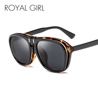 Wholesale Double Gradient Sunglasses - ROYL GIRL Vintage Steampunk Flip Up Sunglasses Women Men Oval Double Layer Clamshell Frame Sun Glasses Male Googles Oculos ss040