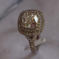 14k 585 de oro blanco al por mayor-Real White Gold 14K Jewelry 2CT Semi Mount Cushion Cut Diamond anillo de boda micro pavimentado de oro blanco 585 joyería fina