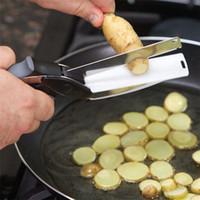 faca multifuncional de aço inoxidável venda por atacado-Hot Clever Cutter 2 em 1 Faca de Cozinha Multifuncional Tesoura De Cozinha Em Aço Inoxidável Faca Afiada Lâmina De Corte De Alimentos Cortador