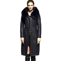 kapüşonlu koyun derisi ceket toptan satış-Koyun Derisi Kürk birlikte Ceket Kadınlar Kış Kalınlaşmak Doğal deri Ceket Tilki kürk yaka Kapşonlu Tops Kadın Hakiki Deri Mont
