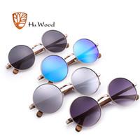 tapınak güneş gözlüğü toptan satış-Toptan Trendy Steampunk Güneş Erkekler Kadınlar Retro Güneş Gözlükleri Yuvarlak Doğal Ahşap Tapınak Gözlük UV400 Günlük Balıkçılık GR8024
