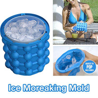 Wholesale Eu Stocks - 13x14.5cm Ice Cube Maker Genie The Revolutionary Space Saving Ice Cube Maker 3D Grenade Mold Ice Genie Kitchen Tools